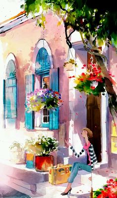 Kai Fine Art is an art website, shows painting and illustration works all over the world. Art And Illustration, Pop Illustrations, Watercolor Illustration, Watercolour Painting, Painting & Drawing, Watercolours, Simple Watercolor, Watercolor Ideas, Kid Painting