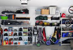 Do you have sports equipment all over your house and car? Find 9 clever sports equipment storage solutions to save space and store all those needed, but bulky, items. Basement Storage, Storage Room, Kitchen Storage, Storage Shelving, Cubby Storage, Shelving Units, Bike Storage, Sports Equipment Storage, Shed Organization