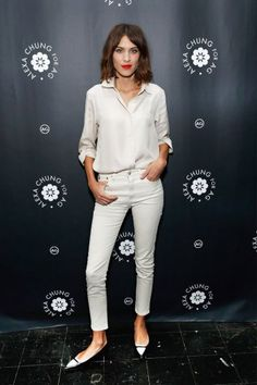 Alexa Chung dressed in, well, herself by pairing Tabitha Simmons aptly-named Alexa pointed flats with pieces from her new collection wtih AG jeans for an event at Bergdorf Goodman in New York City on January 2.