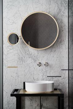 Round mirrors in the Bathroom | Norse White Design Blog