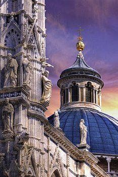 Dome and Facade Sculpture of Siena Cathedral - Tuscany, Italy