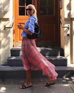 It Skirts 2018: Shop the 6 Instagram-Famous Skirts | Who What Wear Moda Instagram, Next Fashion, Fashion Outfits, Womens Fashion, Skirt Fashion, Fashion Trends, Red Check Skirt, Pleated Midi Skirt, Midi Skirts