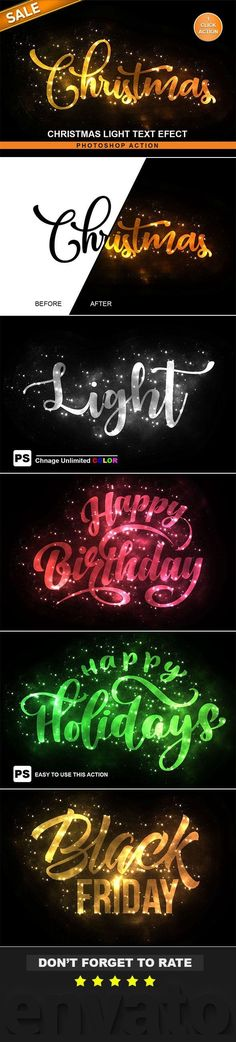 Buy Christmas Text Effect Photoshop Action by Keepdesign on GraphicRiver. Christmas Text Effect Photoshop Action Want to transform an amazing effect of Christmas light Text Effect from any T. Photoshop Text Effects, Cool Photoshop, Photoshop Design, Photoshop Tutorial, Photoshop Actions, Christmas Text, Christmas Lights, Shops, Photoshop Photography
