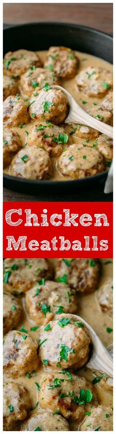 These chicken meatballs are delicious over egg noodles or creamy mashed potatoes. An easy chicken dinner idea for a busy weeknight (30 minute meal) - A video recipe