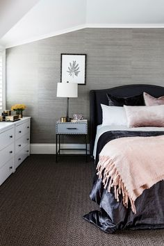 """Darren sought an opulent look for the main bedroom. Grasscloth wallpaper from [Boyd Blue](http://www.boydblue.com/?utm_campaign=supplier/