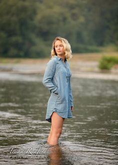 Senior Portrait Girl Outfit Idea Posing Ideas Outdoor Photoshoot Feet In River