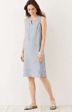 striped linen tank dress, inspiration JJIll