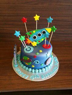 Rocketship themed cake Rocket Ship Party, Rocket Ships, Fun Cupcakes, Cupcake Cakes, Rocket Birthday Parties, Childrens Baking, Rocket Cake, Planet Cake, Galaxy Cake