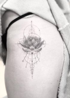 Geometric Lotus Flower Tattoo on Hip by Doctor Woo