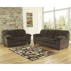 Inger Chocolate Finish Fabric Upholstery 2 Pc Contemporary Sofa And Loveseat Set