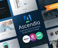 Ascendio - Corporate WordPress Theme to Boost Your Company Meet an updated version of the Ascendio corporate WordPress theme for your business. This template is marvelous thanks to WordPress, which guarantees a steady performance. Also, there is an Elementor plugin with a rich collection of widgets. Top Wordpress Themes, Corporate Business, Web Design, Templates, Creative, Themes Free, Meet, Website, Collection