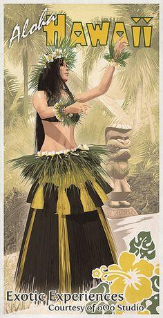 Vintage Hawaii travel poster  Hula Dancer