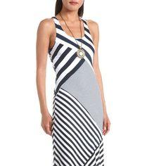 Asymmetrical Stripe Maxi Dress: Charlotte Russe