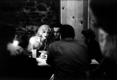 Marilyn enjoying dinner with Montgomery Clift, May Reis and Arthur Miller during the filming of The Misfits, 1960.