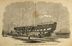 External view of a Hulk prison ship, 1862