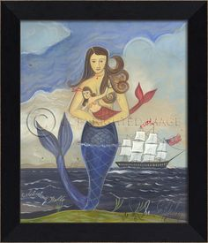Black bevel-framed Mom mermaid with pretty blue tail, holding an adorable girl mermaid with a red tail; both celebrating the arrival of the Belle!