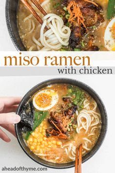 Satisfy your ramen cravings with healthy miso ramen with chicken from the comfort of your own home. Weeknight dinners have never been tastier! Ramen Recipes, Baby Food Recipes, Asian Recipes, Vegetarian Recipes, Chicken Recipes, Dinner Recipes, Cooking Recipes, Healthy Recipes, Ethnic Recipes