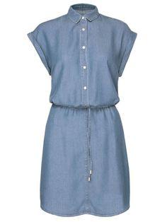 sukienka damska gładka niebieska - TSU0540 TROLL