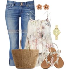 """Floral Blouse & Cropped Denim"" by casuality on Polyvore"