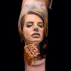 Insanely realistic Lana Del Rey Colour Portrait Tattoo by Nikko Hurtado