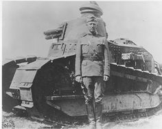 George Patton in France in 1918 with tank
