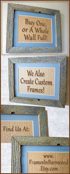 This listing can be for a single frame that is matted to be for a 5 x 7 image, or for a Set of Two to 6 Barnwood Frames that have a delightful patina of natural lichen that adds just a touch of gold to the brown / gray of the wood and the blue / gray of the matting.    Authentic Old Barn Wood, Recycled, RePurposed, Reclaimed, Vintage Farmhouse Wood Frames, Rustic, Primitive, Distressed, Antique! With touches of lichen on the wood that depth and just a little color.