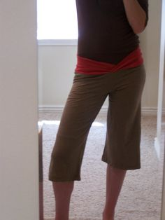Yoga Pants from T shirts. There is a link to the actual tutorial but I like her description better and love her pants better than the other examples. Now I need to find some 97 cent tee-shirts - AHA Garage Sales!!