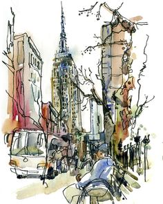 New York sketch Empire State New York City Art by SketchAway