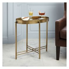 West Elm Brass Tray Side Table (1,345 CNY) ❤ liked on Polyvore featuring home, furniture, tables, accent tables, brass end table, mirror top table, west elm side table, west elm and brass table