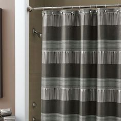 Croscill Angola Bath Collection - #black #bathroom #collections: This jacquard shower curtain is made up of various irregular stripes that give the style its global flavor.  Also in Chocolate