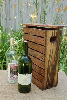 Personalized Double Wood Wine Bottle Gift Crate / Carrier / Anniversary Crate with Top - Copper Name/Date Plate - Stained - Rustic  custom wedding gift