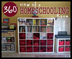 360 View of Homeschooling Room RadicalChristianWoman.com Awesome homeschool room (photos and video), tons of tips and advice for design ideas for homeschooling room.