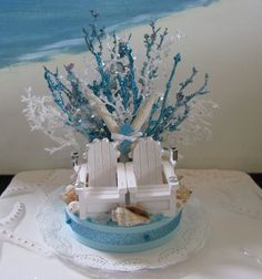 Adirondack Chairs Beach Wedding Cake Topper-blue Coral Wedding Cake Topper