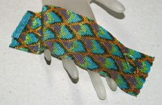 Dragon Scales Peacock Shimmer ... Beadwoven Cuff . by time2cre8