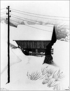 Maurits Cornelis Escher(Dutch,1898-1972,Snow,1936. Thank you,iamjapanese. Escher Paintings, Mc Escher, Escher Art, Dutch Artists, Printmaking, Winter Art, Image Categories, Illustrator, Cool Art