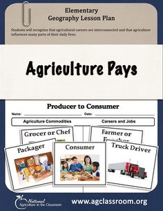 """This elementary lesson guides students from the farm to the fork teaching them about the careers and jobs needed along the path of food production. Students make their very own """"Career Vest"""" out of a paper bag. Ag Science, Earth Science, Geography Lesson Plans, Farm Lessons, Young Leaders, Interview Skills, Resume Writing, New Teachers, Fourth Grade"""