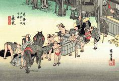 Sotto lo shogunato Tokugawa (徳川幕府) la città di Fujieda (藤枝) faceva parte del vasto dominio feudale Tanaka (田中藩) ed il suo castello Tanaka-jo (田中城) era parte integrante delle fortificazioni periferiche orientali di Sunpu (駿府). Questa famosa xilografia di Utagawa Hiroshige (歌川広重) testimonia, invece, lo sviluppo commerciale del borgo, che era anche un'importante stazione di cambio di cavalli e portantini sulla strada tra Edo e Kyoto... (continua)