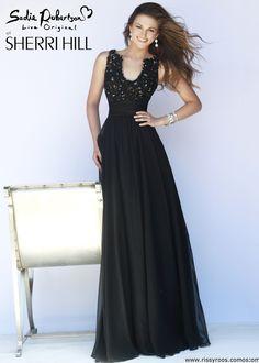 Sherri Hill 32011 - Black Beaded Chiffon Dress - RissyRoos.com