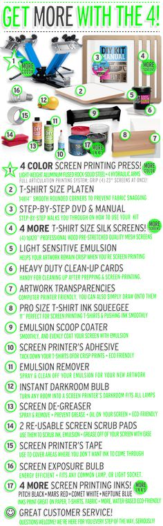 Shop Best Do It Yourself Screen Printing Kits And More Diy Print Shop Tshirt Business, Craft Business, Screen Printing Press, Screen Printer, Patio Privacy Screen, Diy Clothing, Diy Kits, Printed Shirts, Fabric
