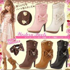 (via Yumetenbo Flash heart bow buckle cowboy boots_PRINCESS_SHOES_§☆~Yumetenbo~♪~Makiko Online Shop~☆§)