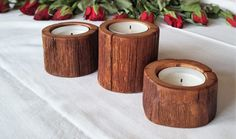 Tree Branch Candle Holder Set of 3 Candle Holders by WoodAllGood