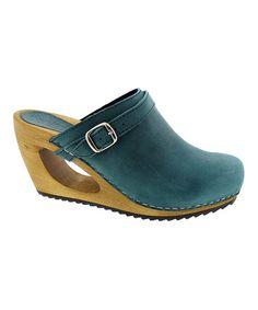 Look at this #zulilyfind! Turquoise Wood & Leather Clog - Women #zulilyfinds