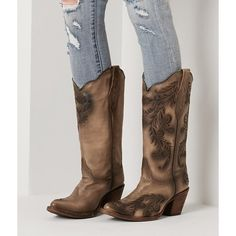 Corral Embroidered Cowboy Boot - Brown US 10 ($250) ❤ liked on Polyvore featuring shoes, boots, brown, cowboy boots, tall boots, embroidered shoes, cowgirl boots and embroidered western boots