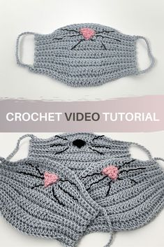 Learn how to make a cute & easy cat face mask (or mouse if you change the color). Free pattern for beginners including video tutorial. Crochet Mask, Crochet Gifts, Cute Crochet, Easy Crochet, Knit Crochet, Youtube Crochet Patterns, Knitting Patterns, Cat Face Mask, Face Masks