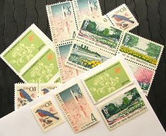 Giving Sharing .. Japan .. Vintage UNused Postage Stamps .. to post 5 letters. $6.50, via Etsy.