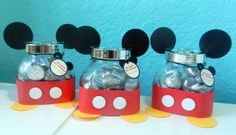 Mickey Mouse Handmade Birthday Party Favor Glass Jar Kits [12 - 40 kits] by AtStudioD on Etsy