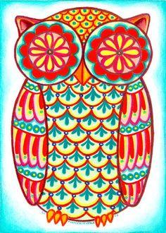 Psychedelic owl print. hoot hoot i love owls.