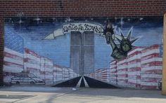 "A mural in the Bronx, N.Y. honoring 9/11 and its victims. ""United We Stand."""