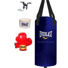 Sports Outdoors Exercise Fitness Boxing Boxing BagsGet a thorough boxing workout with this 25 lbs Everlast Youth Heavy Bag Kit. Everlast is a well-known and trusted brand in the boxing industry, so you know your child is getting a quality product. This kit features a durable Nevatear bag with reinforced webbing and the strong heavy bag construction necessary for it to hold up well and provide you with the long lasting durability you would expect. A pair of red youth boxing gloves comes with…