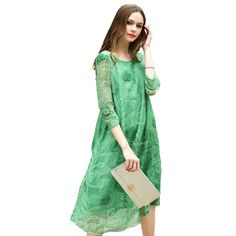 5f6b05d16f 1 Piece 100% Real Quality Silk Lady Flower Print O neck Three Quarter  Sleeves Dress Women Knee Length Silk Female Summer A Dress-in Dresses from  Women s ...